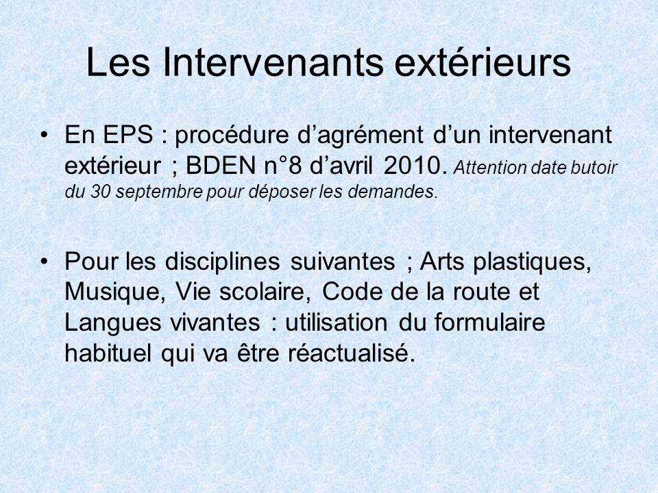 Les Intervenants extérieurs En EPS : procédure dagrément dun intervenant extérieur ; BDEN n°8 davril 2010. Attention date butoir du 30 septembre pour