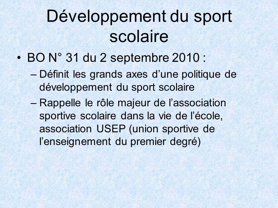 Développement du sport scolaire BO N° 31 du 2 septembre 2010 : –Définit les grands axes dune politique de développement du sport scolaire –Rappelle le rôle majeur de lassociation sportive scolaire dans la vie de lécole, association USEP (union sportive de lenseignement du premier degré)