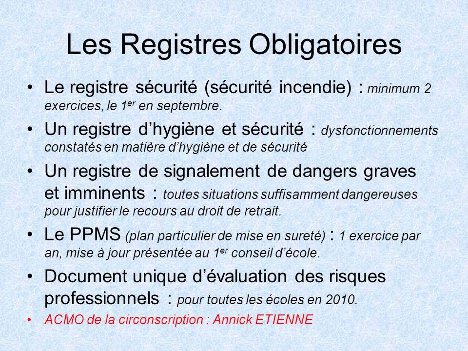 Les Registres Obligatoires Le registre sécurité (sécurité incendie) : minimum 2 exercices, le 1 er en septembre. Un registre dhygiène et sécurité : dy