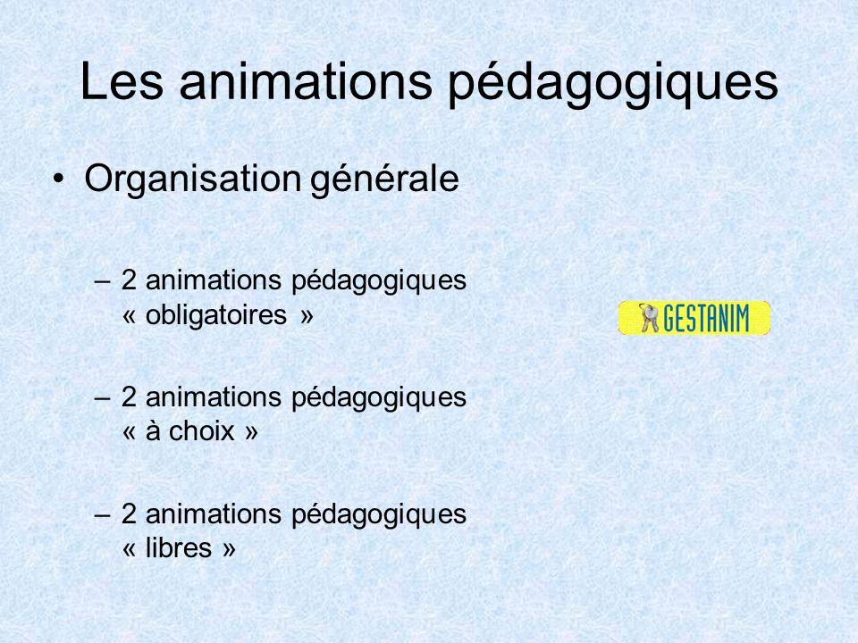 Les animations pédagogiques Organisation générale –2 animations pédagogiques « obligatoires » –2 animations pédagogiques « à choix » –2 animations péd