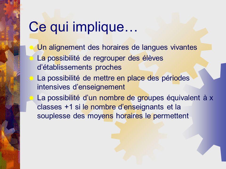 La constitution des groupes, modifiable au cours de lannée Est indépendante de la série, du statut de la langue (LV1,LV2 voire LV3 pour certaines langues) Et de lorganisation par classes
