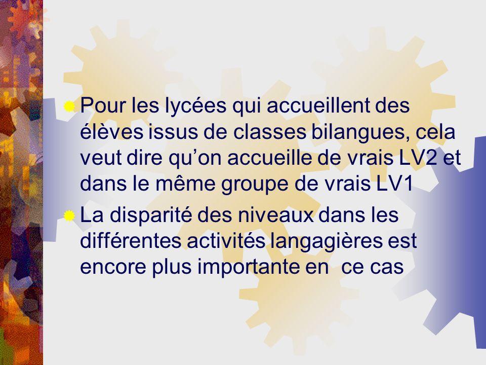 Les profils linguistiques des élèves % des élèves ayant obtenu le niveau Élèves de collèges Élèves de LEGTÉlèves de LP A2 dans les 4 activités langagières 5,994,619,09 A2 dans 3 activités langagières et B1 dans une seule 21,9118,0920,45 A2 dans 2 activités langagières et B1 dans les 2 autres 33,8132,4322,27 A2 dans 1 activité langagière et B1 dans les 3 autres 38,2944,8743,18