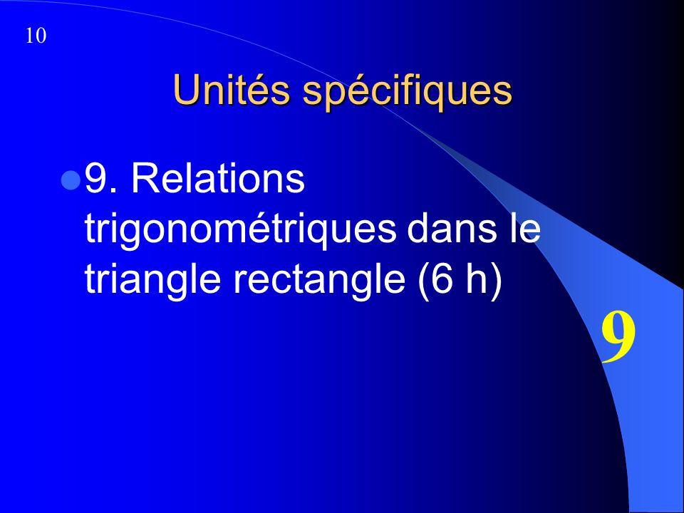 Unités spécifiques 9. Relations trigonométriques dans le triangle rectangle (6 h) 9 10