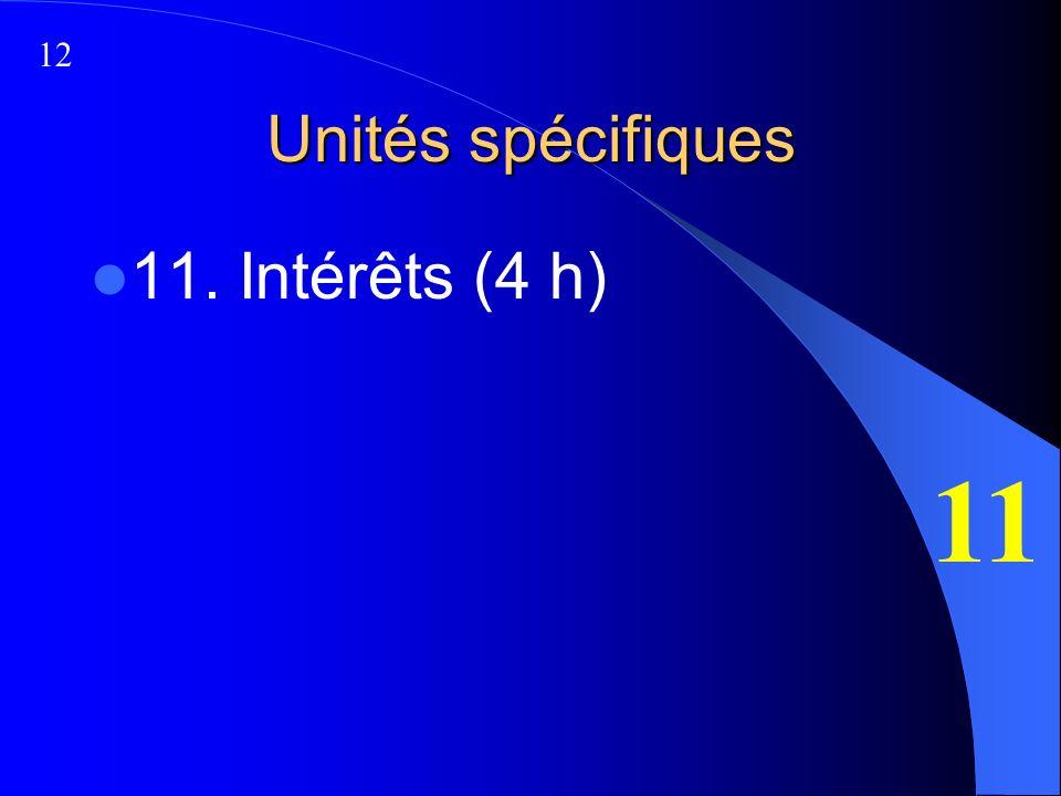 Unités spécifiques 11. Intérêts (4 h) 11 12