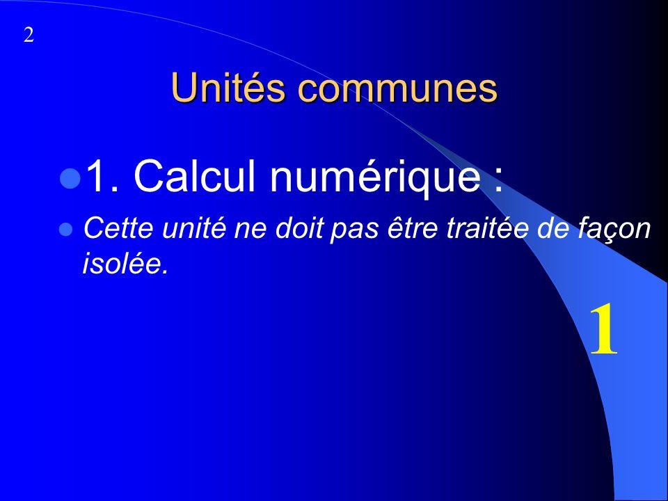 Unités communes 1. Calcul numérique : Cette unité ne doit pas être traitée de façon isolée. 1 2
