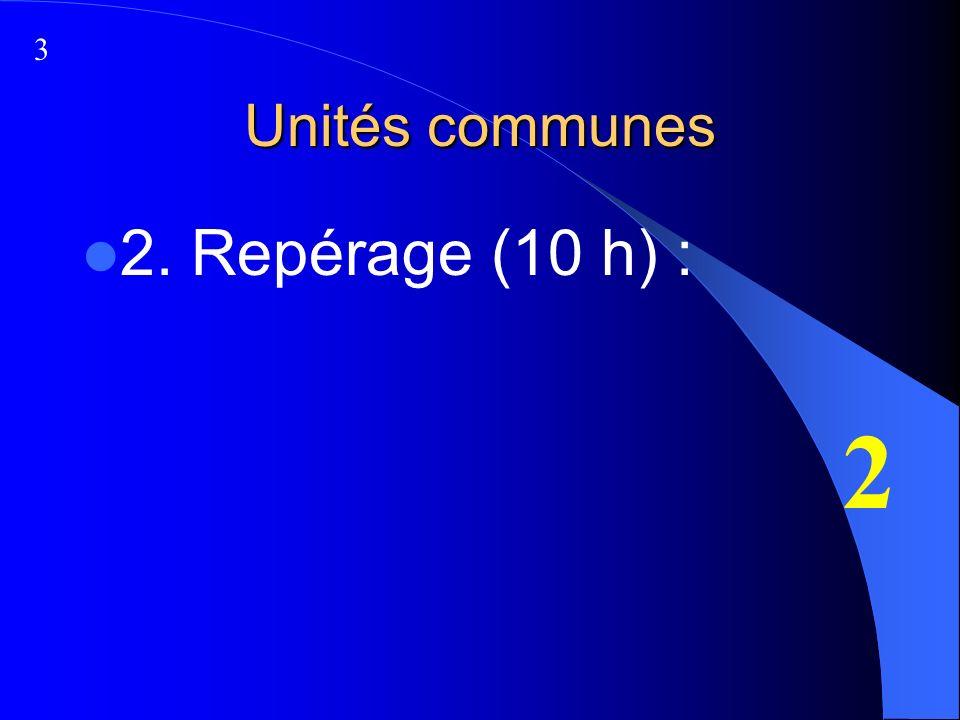Unités communes 2. Repérage (10 h) : 2 3