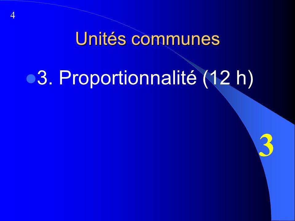 Unités communes 3. Proportionnalité (12 h) 3 4