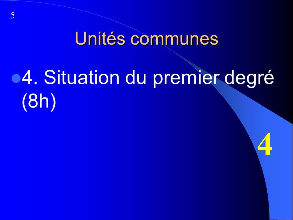 Unités communes 4. Situation du premier degré (8h) 4 5