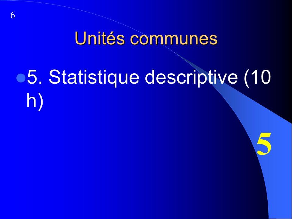 Unités communes 5. Statistique descriptive (10 h) 5 6
