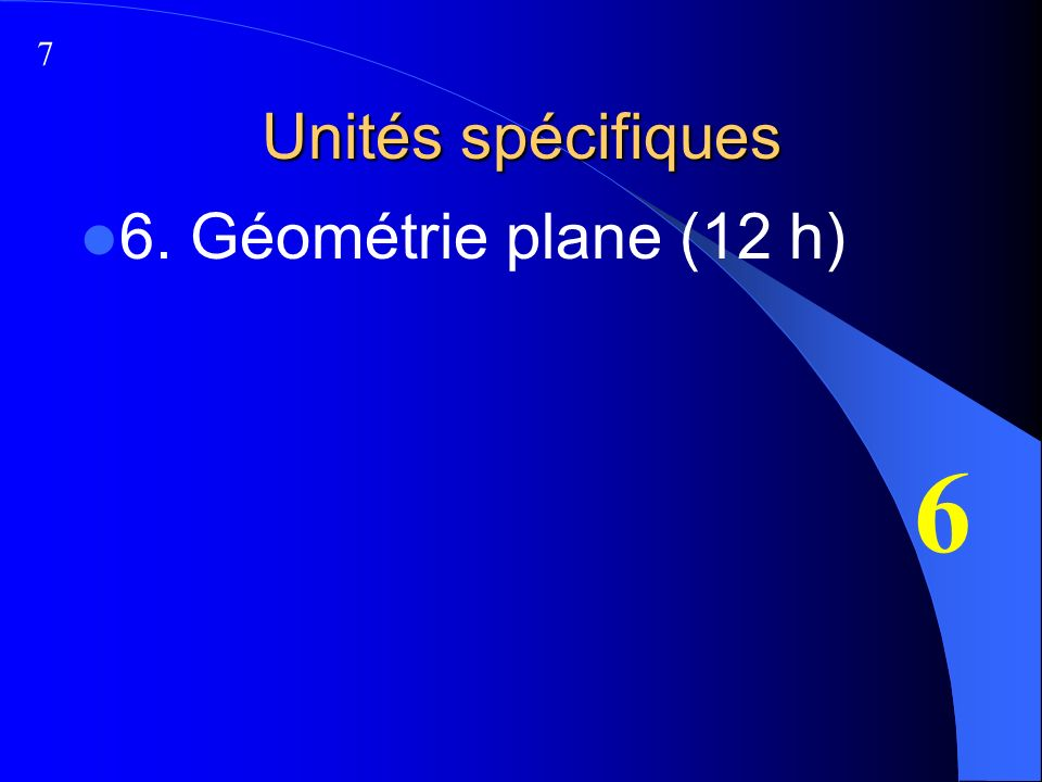 Unités spécifiques 6. Géométrie plane (12 h) 6 7