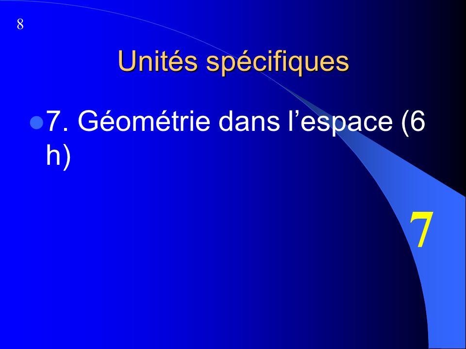 Unités spécifiques 7. Géométrie dans lespace (6 h) 7 8