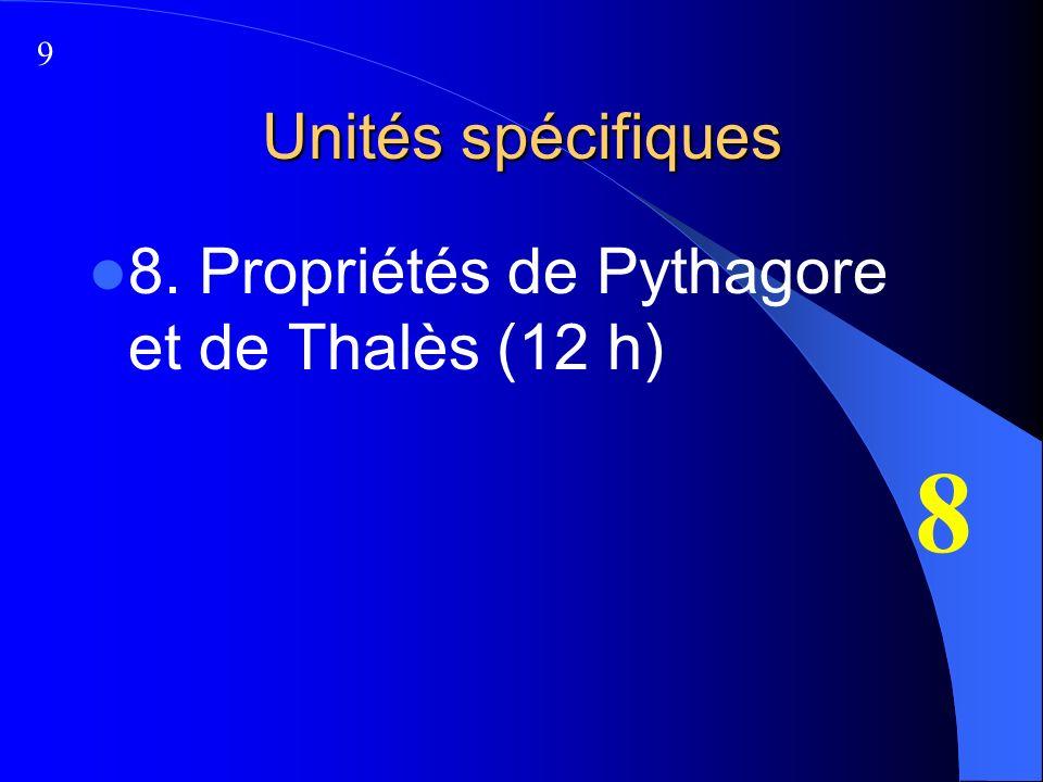 Unités spécifiques 8. Propriétés de Pythagore et de Thalès (12 h) 8 9