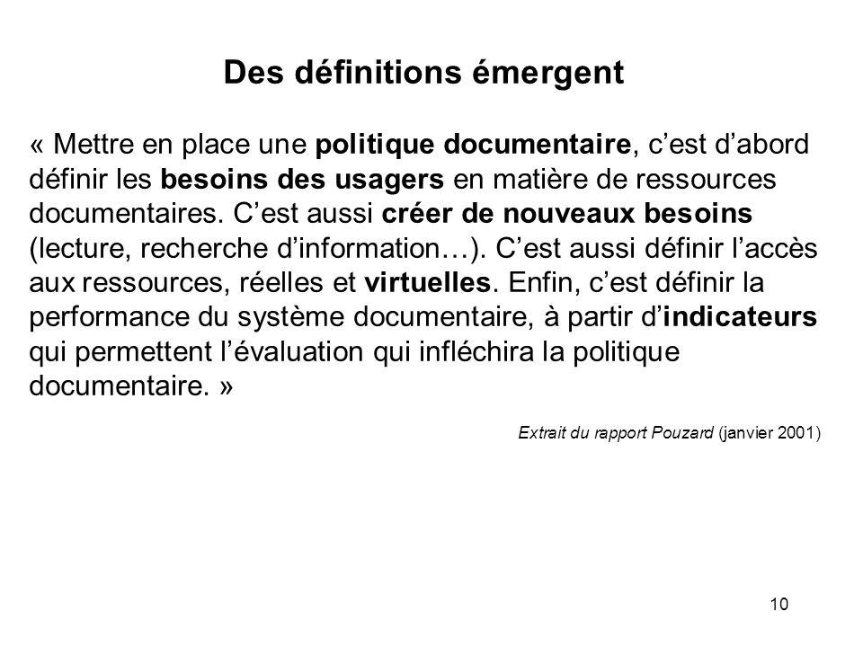 10 Des définitions émergent « Mettre en place une politique documentaire, cest dabord définir les besoins des usagers en matière de ressources documen