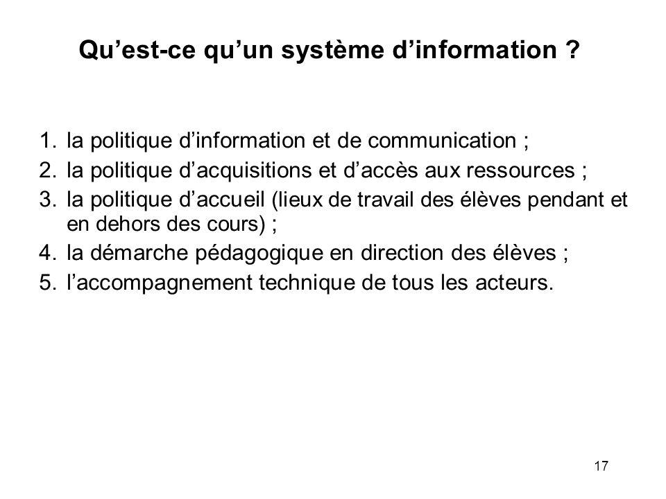 17 Quest-ce quun système dinformation ? 1. la politique dinformation et de communication ; 2. la politique dacquisitions et daccès aux ressources ; 3.