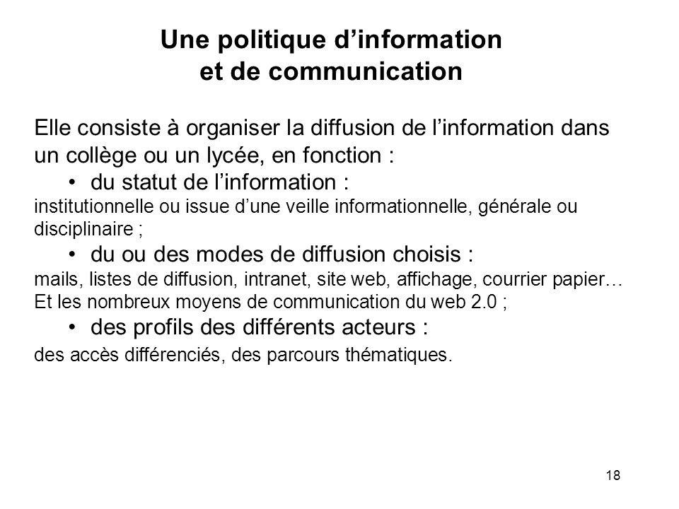 18 Une politique dinformation et de communication Elle consiste à organiser la diffusion de linformation dans un collège ou un lycée, en fonction : du