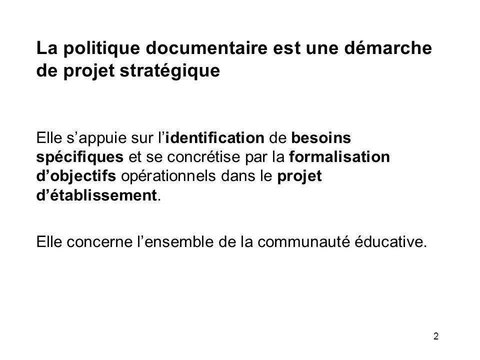 2 La politique documentaire est une démarche de projet stratégique Elle sappuie sur lidentification de besoins spécifiques et se concrétise par la for