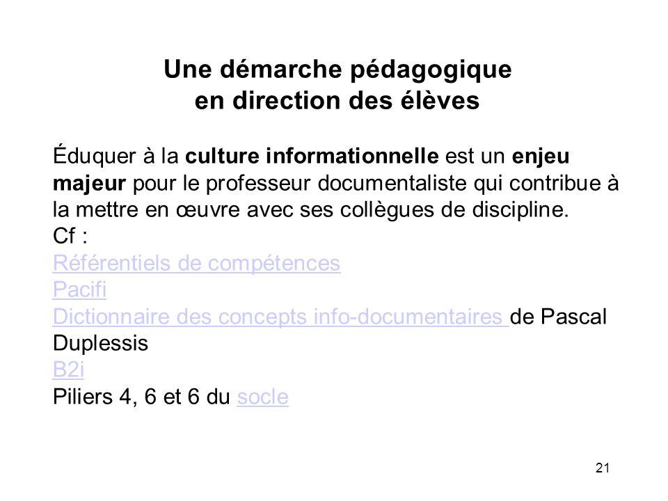 21 Une démarche pédagogique en direction des élèves Éduquer à la culture informationnelle est un enjeu majeur pour le professeur documentaliste qui co