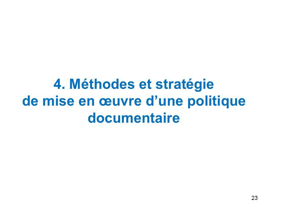 23 4. Méthodes et stratégie de mise en œuvre dune politique documentaire