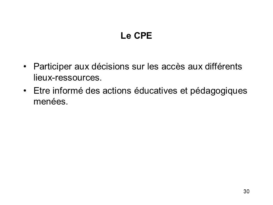 30 Le CPE Participer aux décisions sur les accès aux différents lieux-ressources. Etre informé des actions éducatives et pédagogiques menées.