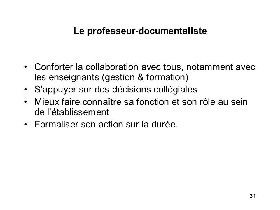 31 Le professeur-documentaliste Conforter la collaboration avec tous, notamment avec les enseignants (gestion & formation) Sappuyer sur des décisions