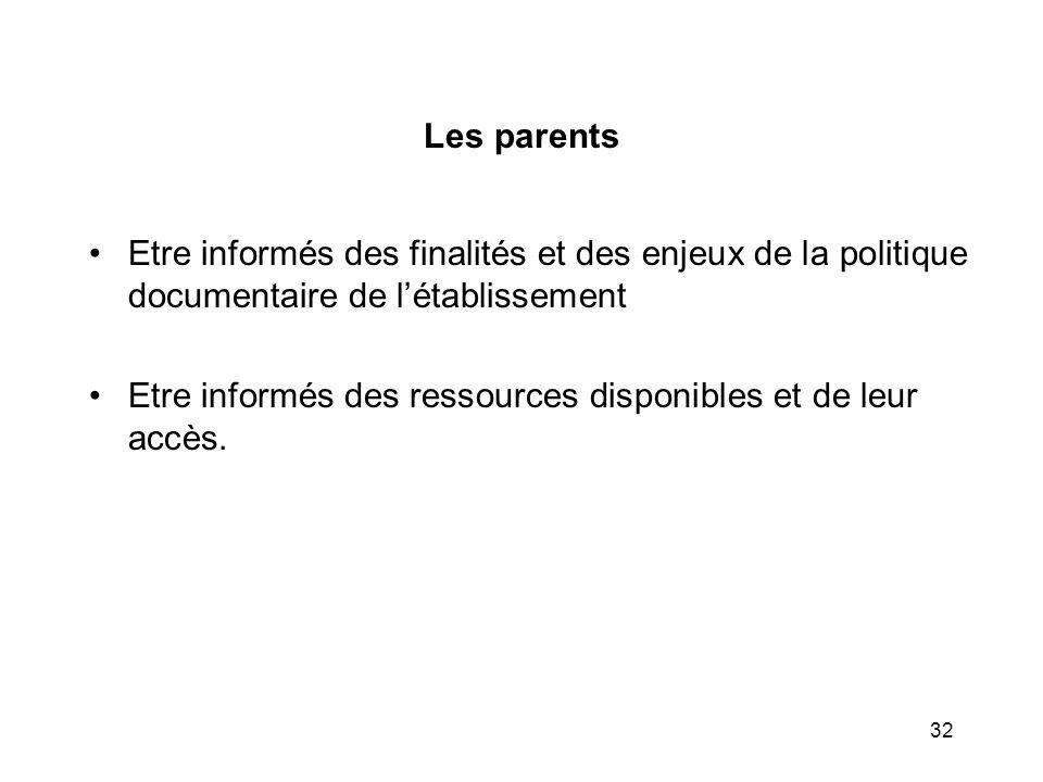 32 Les parents Etre informés des finalités et des enjeux de la politique documentaire de létablissement Etre informés des ressources disponibles et de