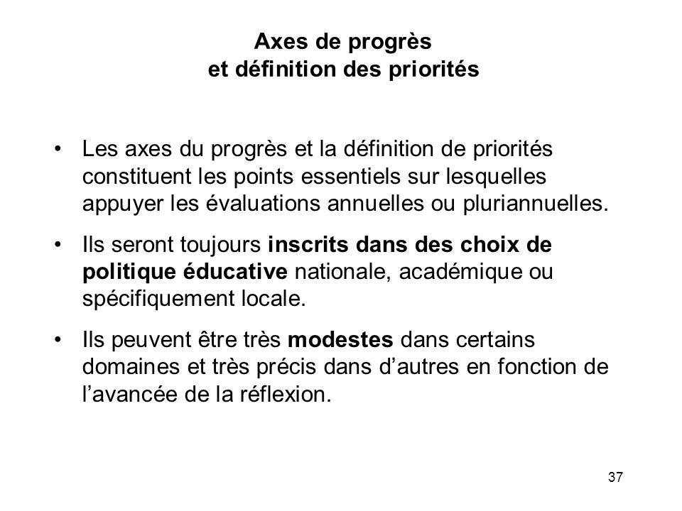 37 Axes de progrès et définition des priorités Les axes du progrès et la définition de priorités constituent les points essentiels sur lesquelles appu