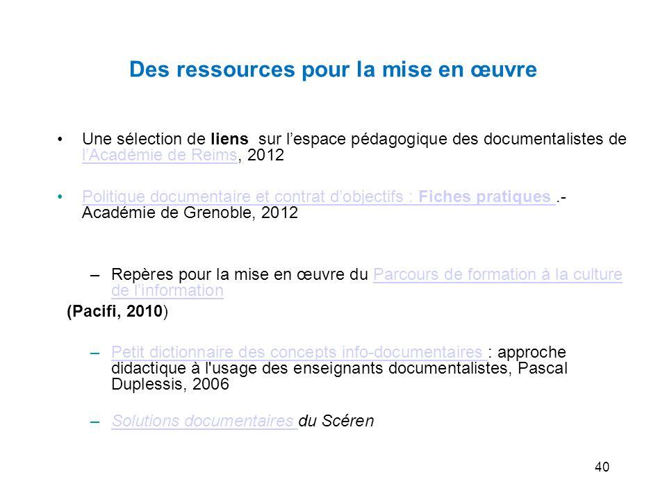 40 Des ressources pour la mise en œuvre Une sélection de liens sur lespace pédagogique des documentalistes de lAcadémie de Reims, 2012 lAcadémie de Re