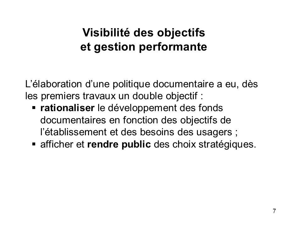 7 Visibilité des objectifs et gestion performante Lélaboration dune politique documentaire a eu, dès les premiers travaux un double objectif : rationa