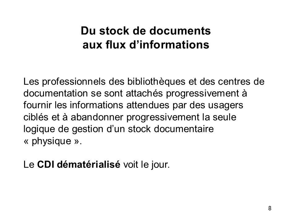 8 Du stock de documents aux flux dinformations Les professionnels des bibliothèques et des centres de documentation se sont attachés progressivement à