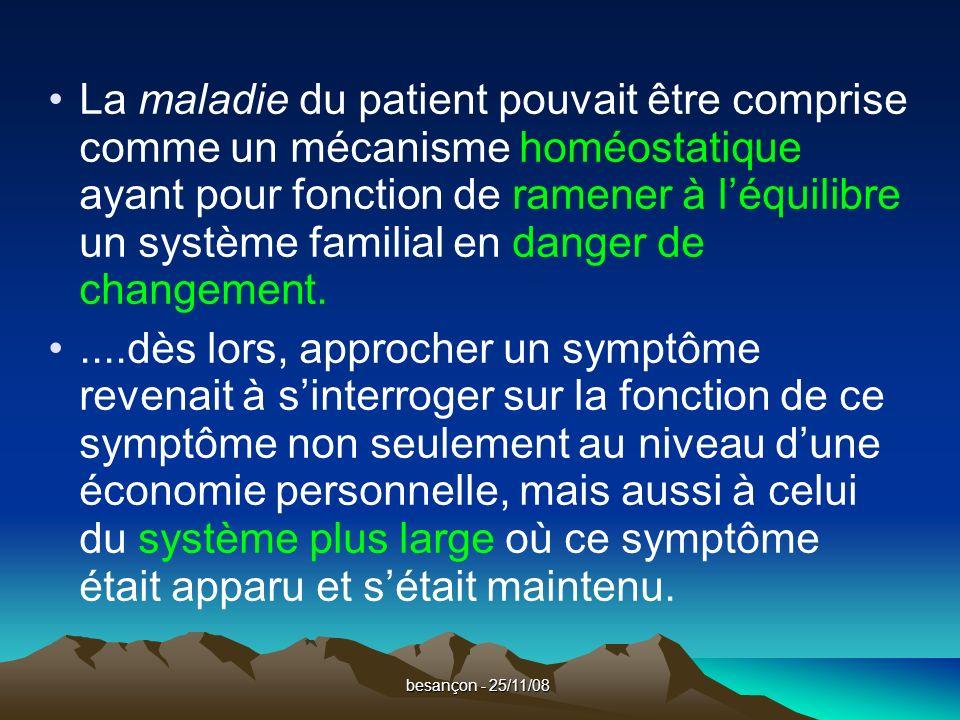 besançon - 25/11/08 La maladie du patient pouvait être comprise comme un mécanisme homéostatique ayant pour fonction de ramener à léquilibre un système familial en danger de changement.....dès lors, approcher un symptôme revenait à sinterroger sur la fonction de ce symptôme non seulement au niveau dune économie personnelle, mais aussi à celui du système plus large où ce symptôme était apparu et sétait maintenu.