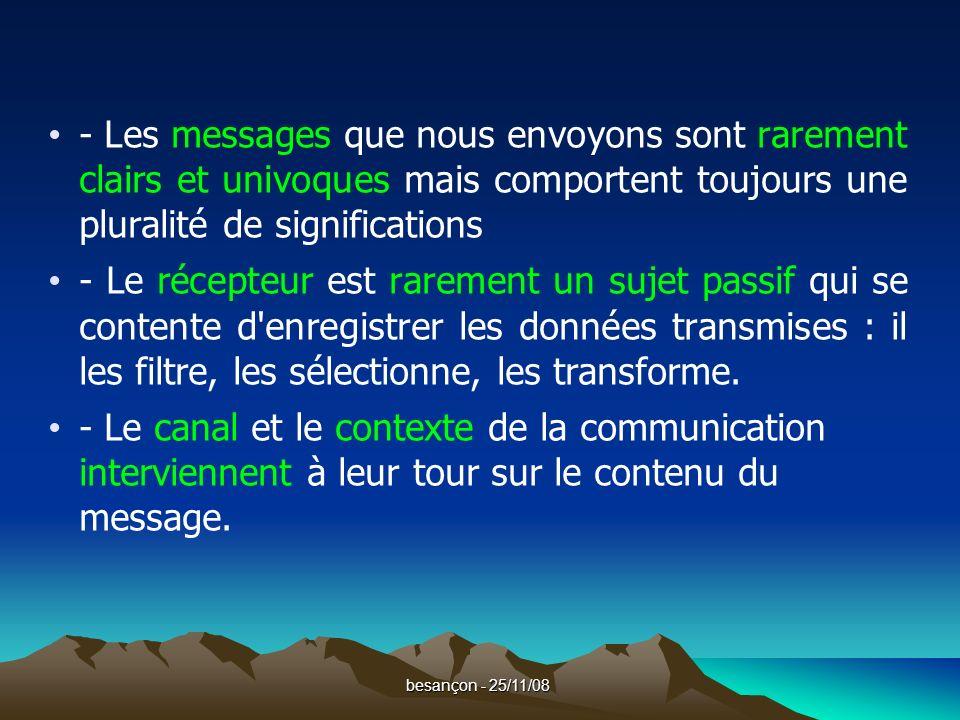besançon - 25/11/08 Enfin, et surtout, on découvre que communiquer ce n est pas seulement informer, c est aussi chercher à influencer autrui, à se mettre en scène, à séduire ou à se défendre.