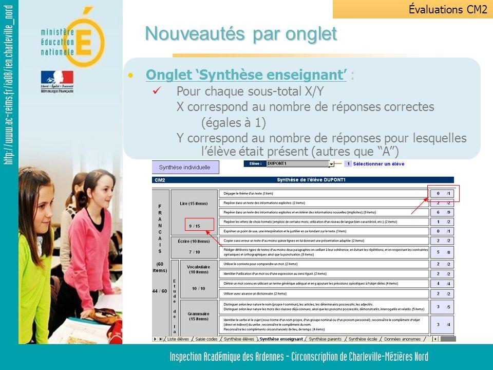 Onglet Synthèse élèves : Le score moyen est calculé par discipline et non plus sur lensemble des compétences.