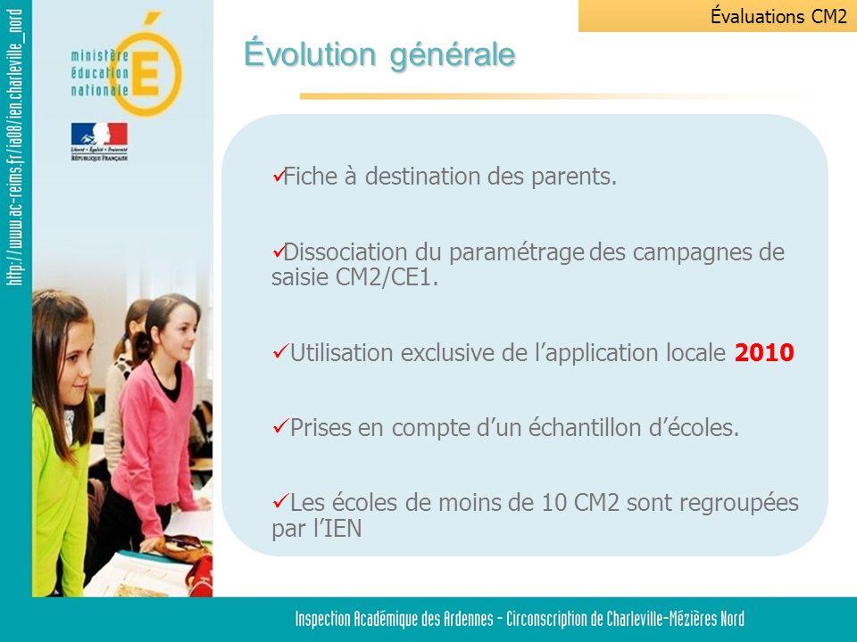 Évolution générale Évaluations CM2 Fiche à destination des parents.