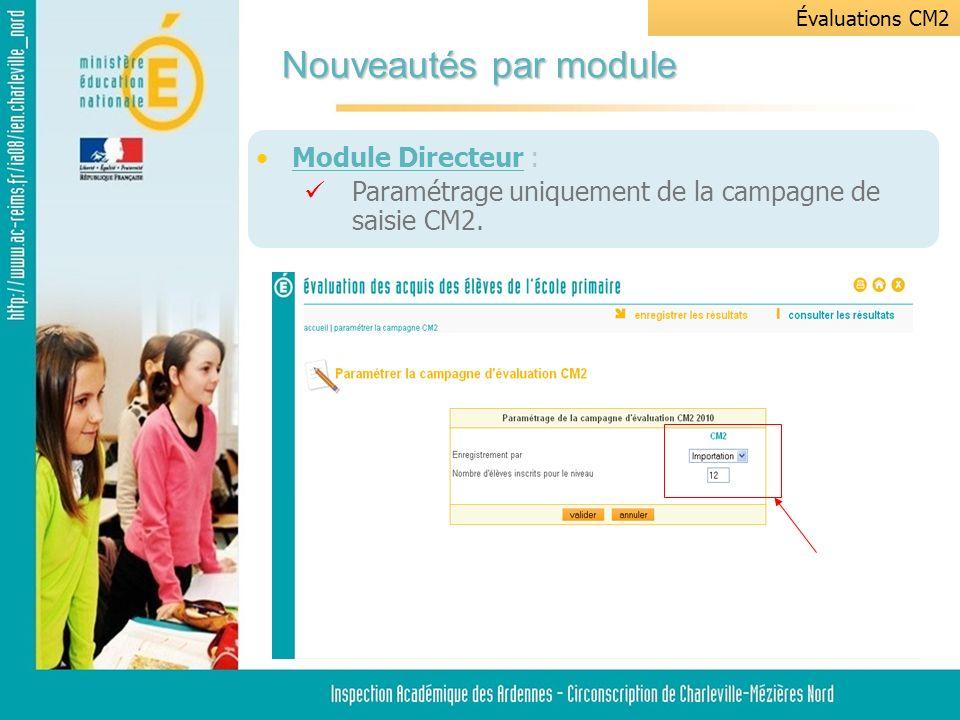Module Directeur : Paramétrage uniquement de la campagne de saisie CM2.