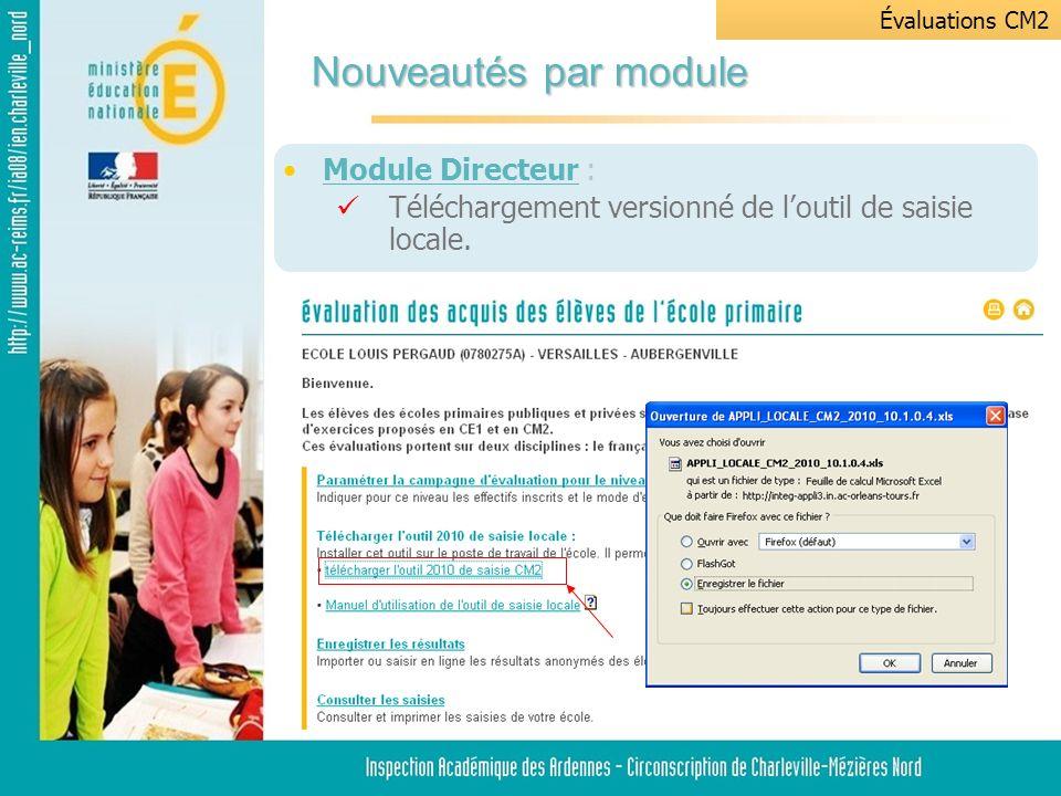 Module Directeur : Téléchargement versionné de loutil de saisie locale.