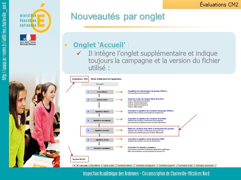 Onglet Accueil : Il intègre longlet supplémentaire et indique toujours la campagne et la version du fichier utilisé : Nouveautés par onglet Évaluations CM2