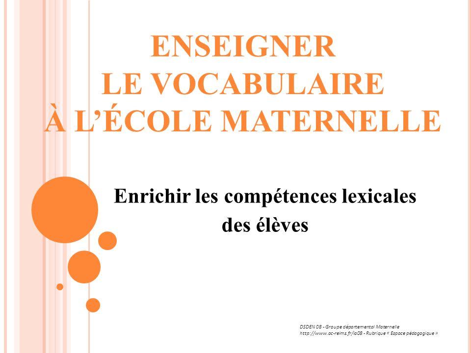 ENSEIGNER LE VOCABULAIRE À LÉCOLE MATERNELLE Enrichir les compétences lexicales des élèves DSDEN 08 - Groupe départemental Maternelle http://www.ac-re