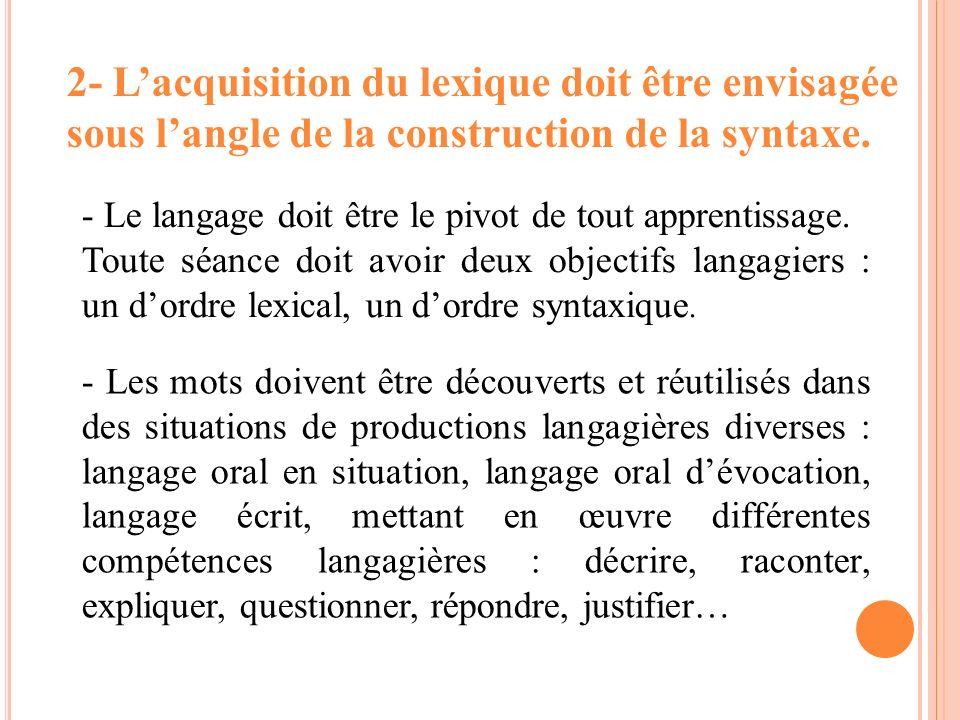 2- Lacquisition du lexique doit être envisagée sous langle de la construction de la syntaxe. - Le langage doit être le pivot de tout apprentissage. To