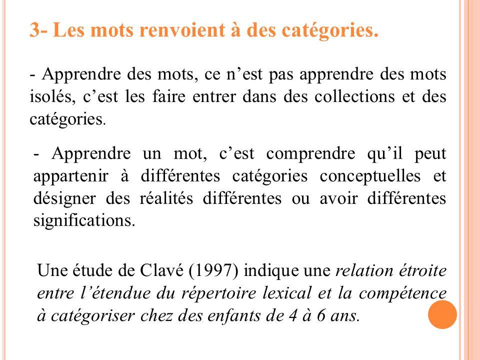 3- Les mots renvoient à des catégories. - Apprendre des mots, ce nest pas apprendre des mots isolés, cest les faire entrer dans des collections et des