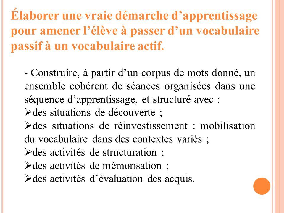 Élaborer une vraie démarche dapprentissage pour amener lélève à passer dun vocabulaire passif à un vocabulaire actif. - Construire, à partir dun corpu