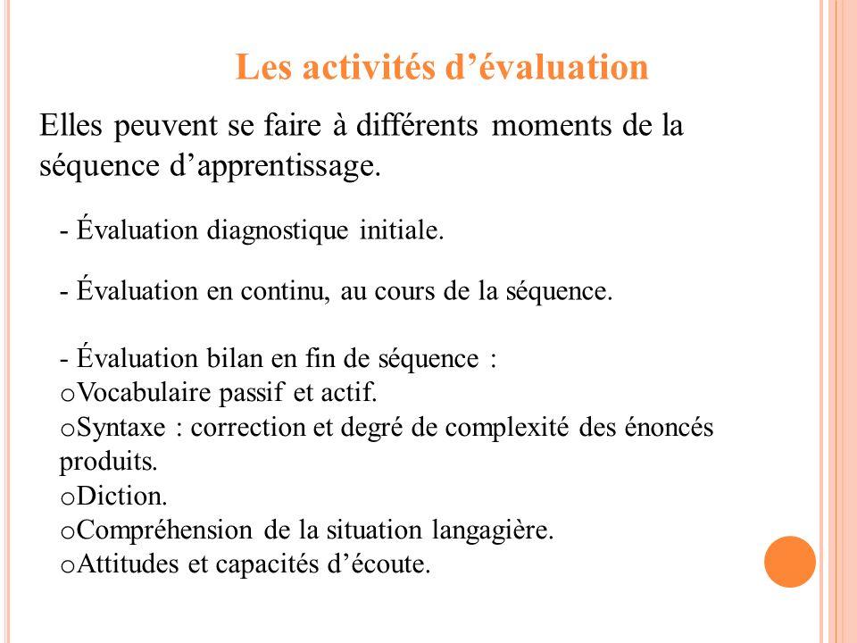 Les activités dévaluation Elles peuvent se faire à différents moments de la séquence dapprentissage. - Évaluation diagnostique initiale. - Évaluation