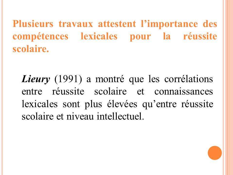 Lieury (1991) a montré que les corrélations entre réussite scolaire et connaissances lexicales sont plus élevées quentre réussite scolaire et niveau i