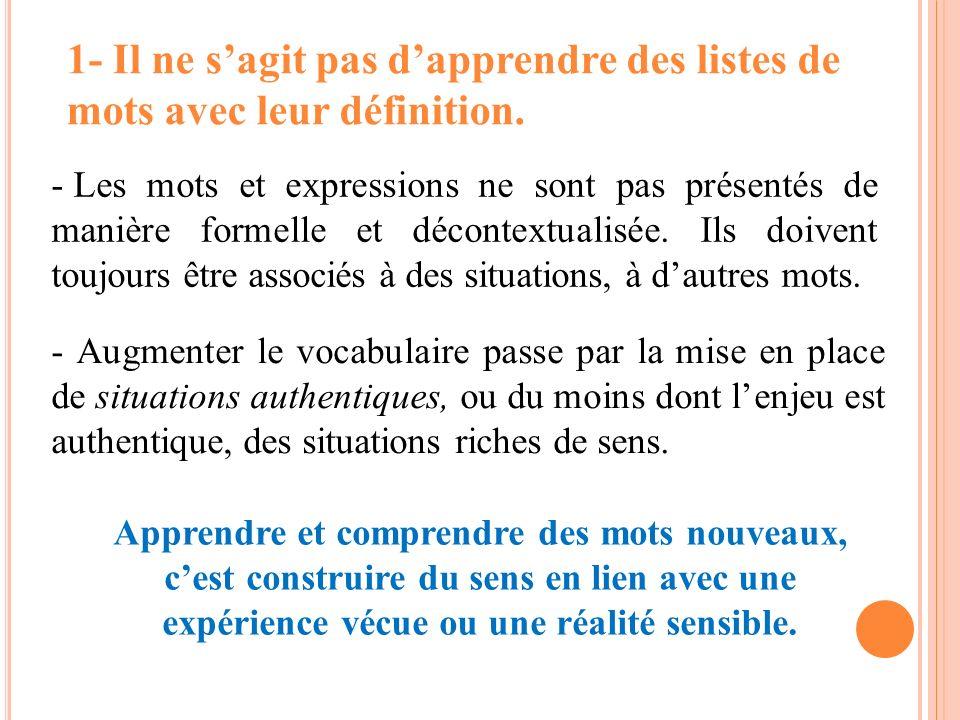- Les mots et expressions ne sont pas présentés de manière formelle et décontextualisée. Ils doivent toujours être associés à des situations, à dautre