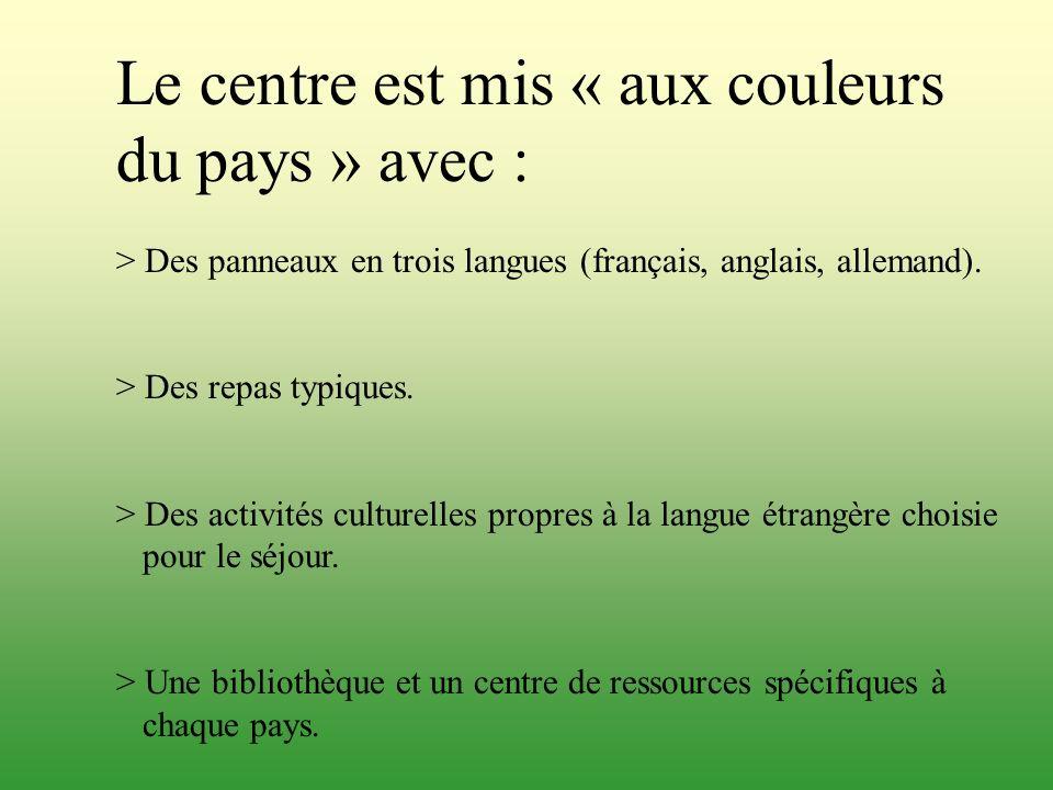 Le centre est mis « aux couleurs du pays » avec : > Des panneaux en trois langues (français, anglais, allemand). > Des repas typiques. > Des activités