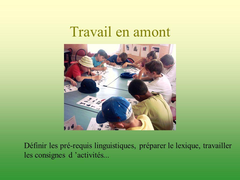 Travail en amont Définir les pré-requis linguistiques, préparer le lexique, travailler les consignes d activités...