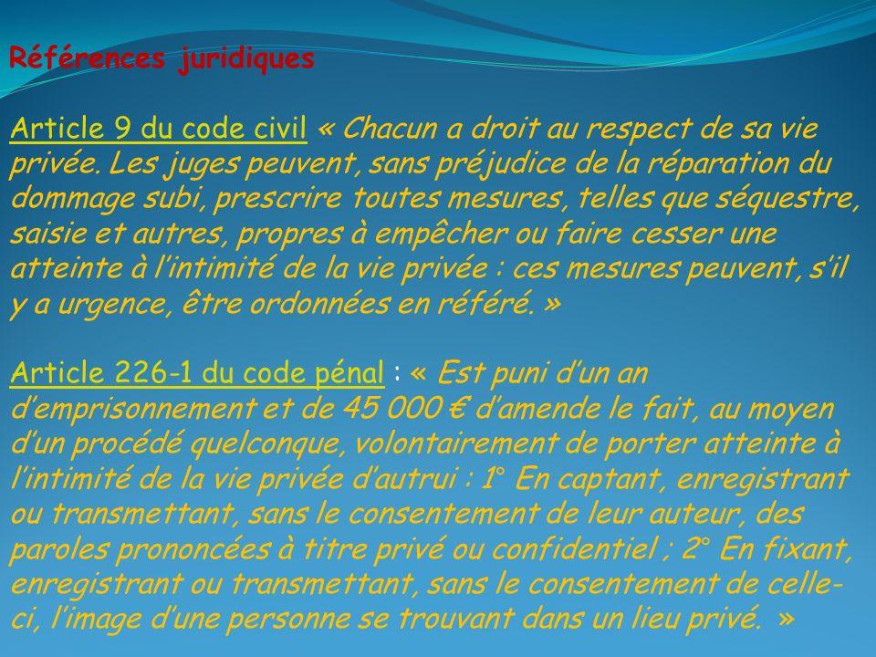 Références juridiques Article 9 du code civilArticle 9 du code civil « Chacun a droit au respect de sa vie privée.