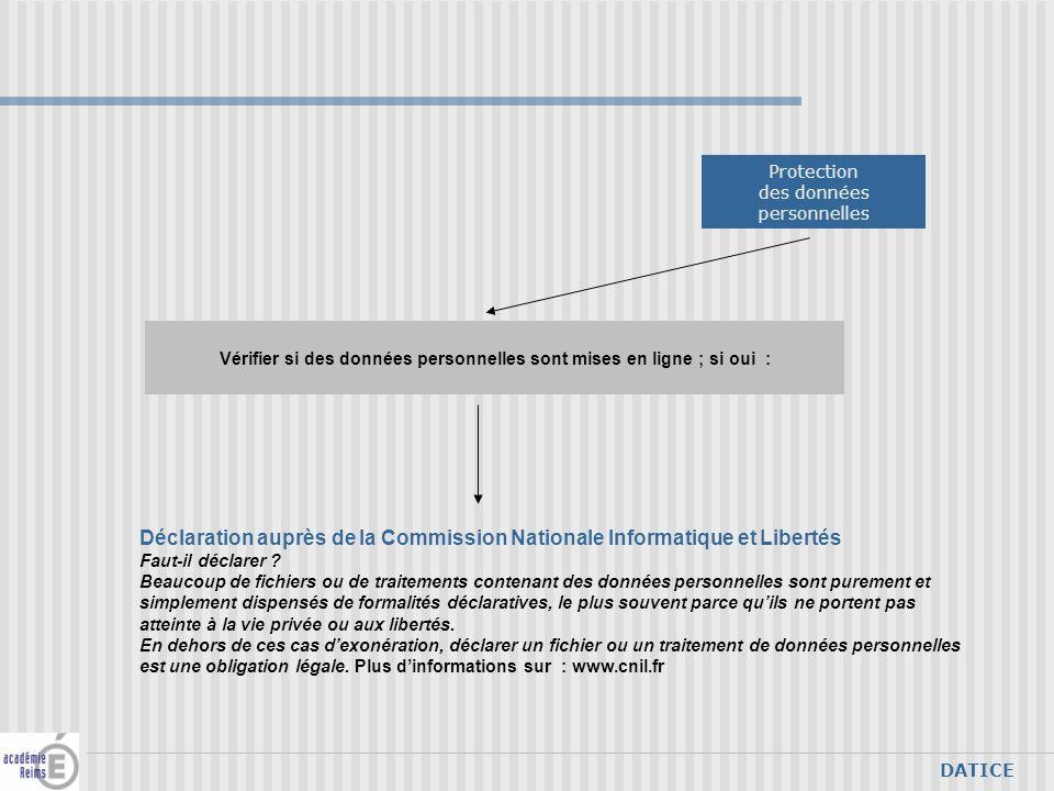 DATICE Vérifier si des données personnelles sont mises en ligne ; si oui : Déclaration auprès de la Commission Nationale Informatique et Libertés Faut-il déclarer .