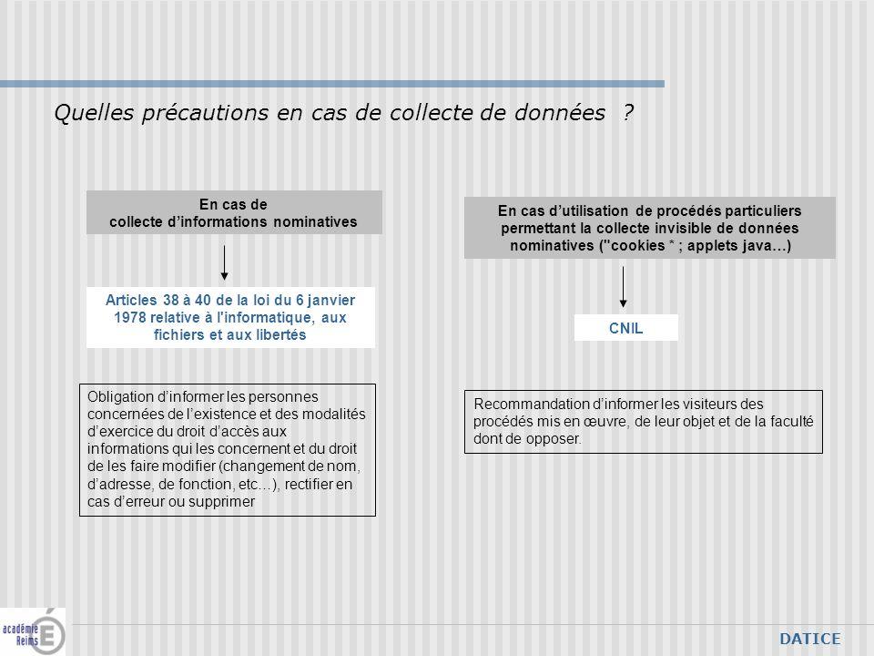 DATICE En cas de collecte dinformations nominatives Quelles précautions en cas de collecte de données .
