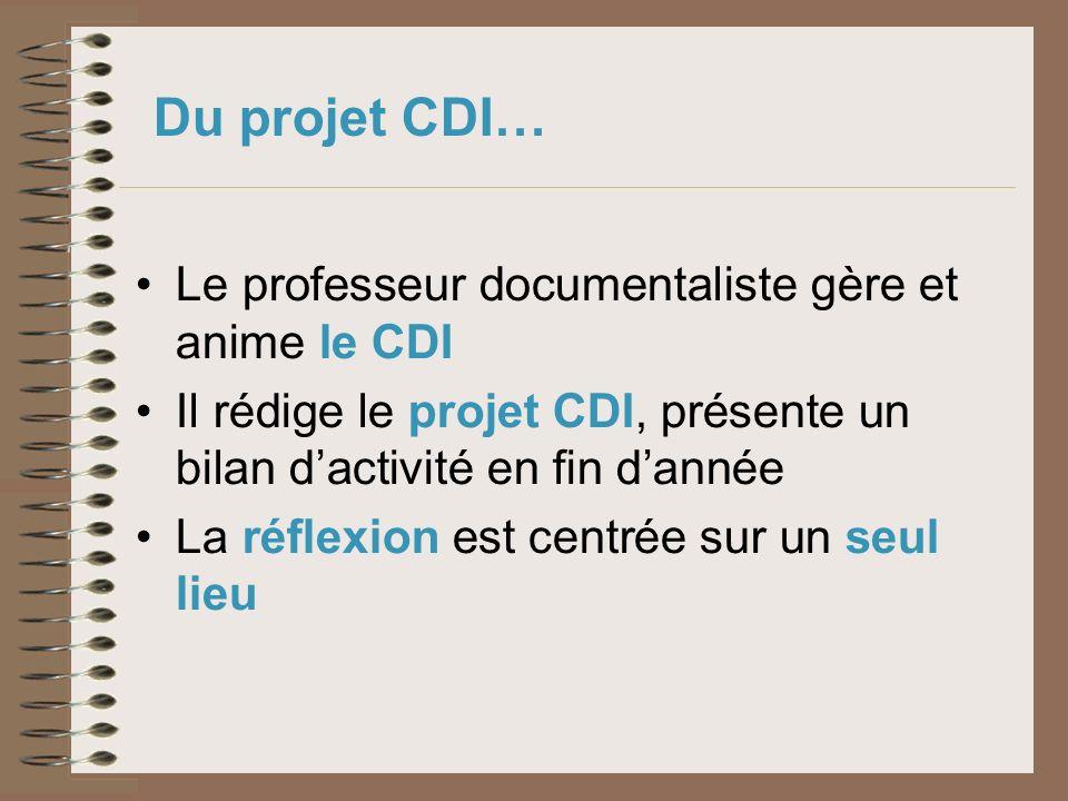 Du projet CDI… Le professeur documentaliste gère et anime le CDI Il rédige le projet CDI, présente un bilan dactivité en fin dannée La réflexion est c