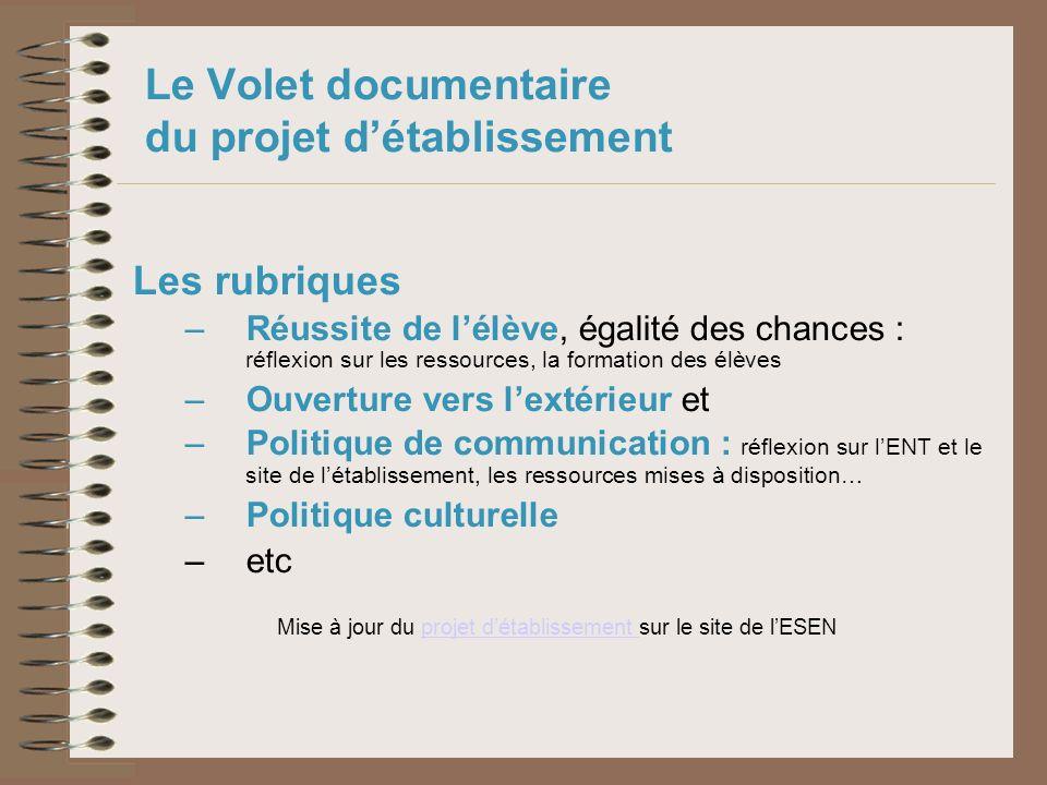 Le Volet documentaire du projet détablissement Les rubriques – Réussite de lélève, égalité des chances : réflexion sur les ressources, la formation de